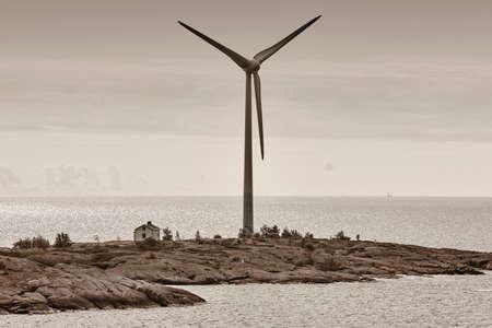 Foto de Wind turbines in the baltic sea. Renewable energy. Finland seascape - Imagen libre de derechos