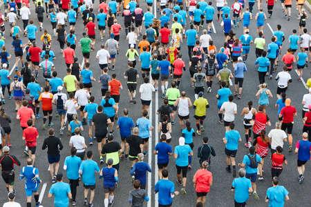 Photo for Urban marathon runners on the street. Healthy lifestyle. Athletes endurance  - Royalty Free Image