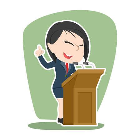 Illustration pour Asian businesswoman giving speech - image libre de droit