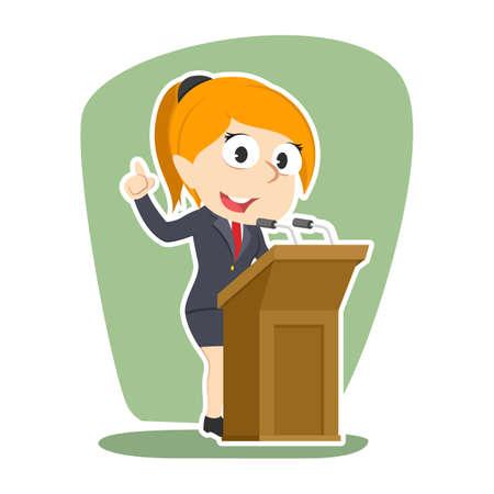 Illustration pour Businesswoman giving speech vector illustration design - image libre de droit