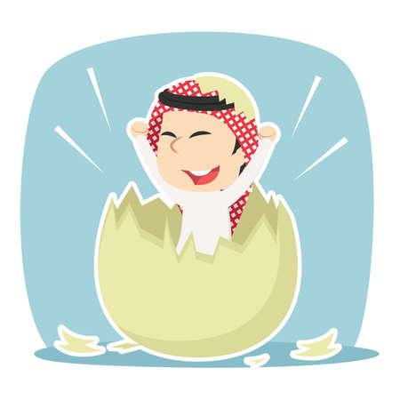 Illustration pour Arabian businessman hatched from egg - image libre de droit