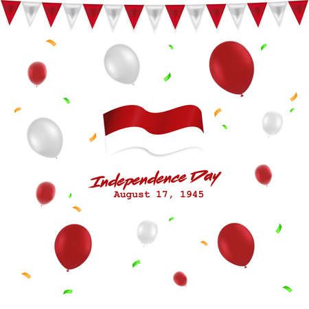 Illustration pour Independece day 17 August Indonesia with red white baloon, flag , and ribbon - image libre de droit