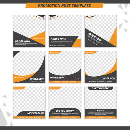 Illustration pour Modern product promotion elegant active and masculine bold social media post template set - image libre de droit
