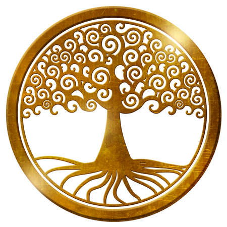 Photo pour world tree life tree wheel gold medallion pendant - image libre de droit