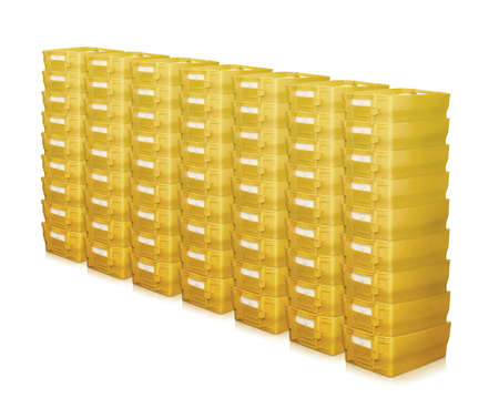 Foto de mailboxes many pile row stack postal german yellow container - Imagen libre de derechos