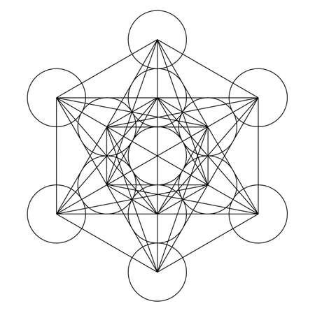 Illustration pour metatron cube geometry holy gold copper platonic - image libre de droit