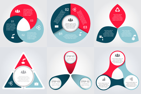 Illustration pour Vector circle elements set for infographic. Template for cycle diagram, graph, presentation. Business concept with 3 options, parts, steps or processes. Abstract background. - image libre de droit