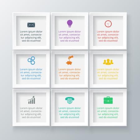 Ilustración de Vector squares for infographic. Template for diagram, graph, presentation and chart. Business concept with 9 options, parts, steps or processes. Data visualization. - Imagen libre de derechos