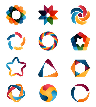 Illustration for Logo templates set. Abstract circle creative signs and symbols. Circles, star, pentagon, hexagon and other design elements - Royalty Free Image
