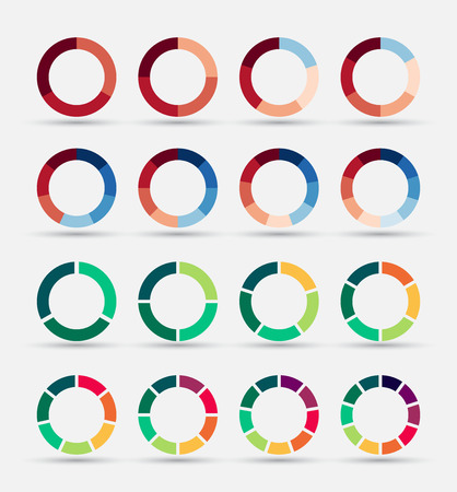 Segmented and multicolored pie charts set with 3, 4, 5, 6, 7 and 8 divisions. Template for diagram, graph, presentation and chart.