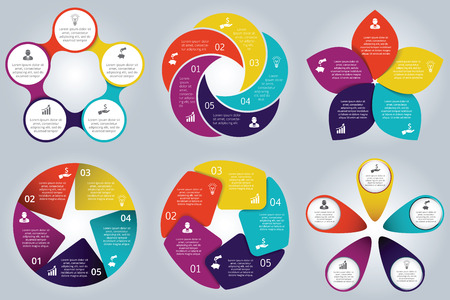 Illustration pour Vector circle elements set for infographic. Template for cycle diagram, graph, presentation and round chart. Business concept with 5 options, parts, steps or processes. Abstract background. - image libre de droit