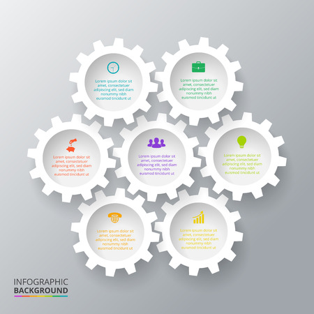 Illustration pour Vector gears for infographic. Template for cycling diagram, graph, presentation. Business concept with 7 options, parts, steps or processes. Abstract background - image libre de droit