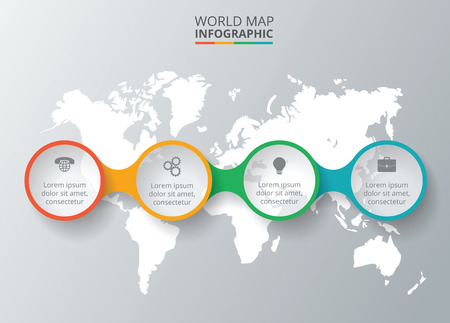 Foto de Vector world map with infographic elements. Template for diagram, graph, presentation. Business concept with 4 options, parts, steps or processes. Abstract background - Imagen libre de derechos