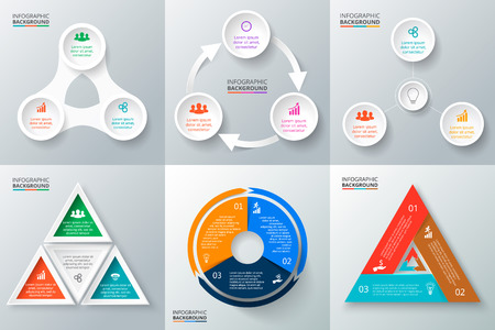 Ilustración de Vector circle elements set for infographic. Template for cycling diagram, graph, presentation and round chart. Business concept with 3 options, parts, steps or processes. Abstract background. - Imagen libre de derechos