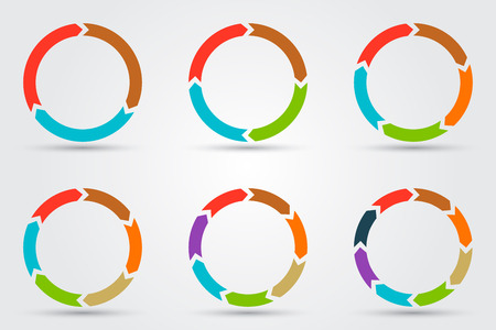 Illustrazione per Vector circle arrows for infographic. Template for diagram, graph, presentation and chart. Business concept with 3, 4, 5, 6, 7, 8 options, parts, steps or processes - Immagini Royalty Free