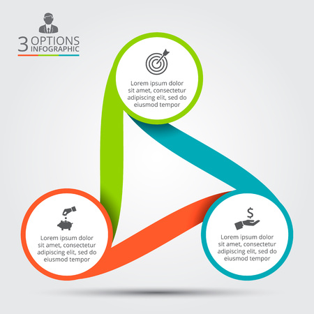 Ilustración de Vector circle infographic. Template for cycle diagram, graph, presentation and round chart. Business concept with 3 options, parts, steps or processes. Data visualization. - Imagen libre de derechos