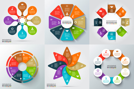 Foto de Vector arrows, octagon, circles and other elements for infographic. Template for cycle diagram, graph, presentation and round chart. Business concept with 6 options, parts, steps or processes. - Imagen libre de derechos