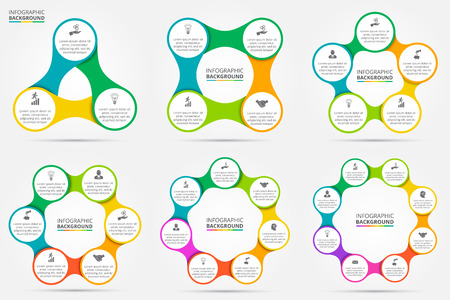 Ilustración de Vector circle infographic. Template for cycle diagram, graph, presentation and round chart. Business concept with 3, 4, 5, 6, 7 and 8 options, parts, steps or processes. Data visualization. - Imagen libre de derechos