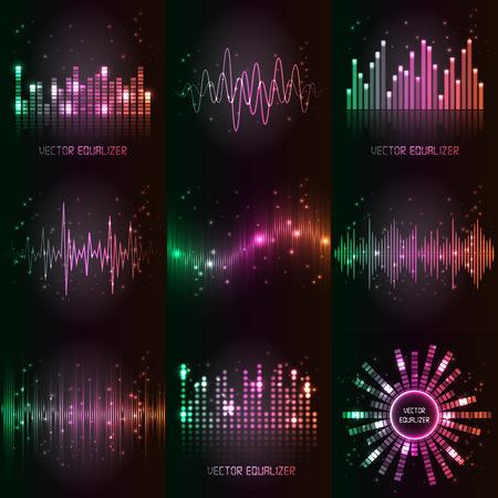Illustration pour sound waves set. Audio equalizer technology, pulse musical. - image libre de droit