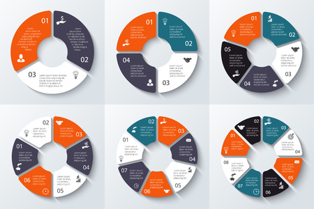 Ilustración de Vector circle element for infographic. Template for cycle diagram, graph, presentation and round chart. Business concept 3, 4, 5, 6, 7 and 8 with options, parts, steps or processes. - Imagen libre de derechos