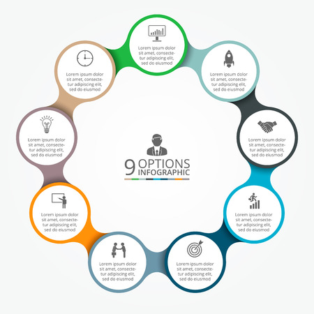 Ilustración de Vector circle element for infographic. Template for cycle diagram, graph, presentation and round chart. Business concept with 9 options, parts, steps or processes. Abstract background. - Imagen libre de derechos