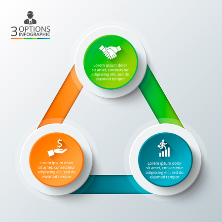 Photo pour Vector triangle for infographic. Template for cycle diagram, graph, presentation and round chart. Business concept with 3 options, parts, steps or processes. Data visualization. - image libre de droit