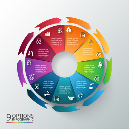 Ilustración de Vector circle with arrows for infographic. Template for cycle diagram, graph, presentation and round chart. Business concept with 9 options, parts, steps or processes. Abstract background. - Imagen libre de derechos