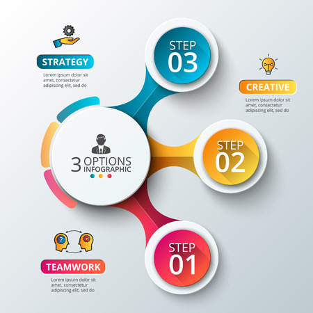Ilustración de Vector elements for infographic. Template for diagram, graph, presentation and chart. Business concept with 3 options, parts, steps or processes. Abstract background. - Imagen libre de derechos