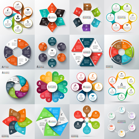 Ilustración de Big set of vector arrows, hexagons, circles and other elements for infographic. Template for cycle diagram, graph, presentation. Business concept with 6 options, parts, steps or processes. - Imagen libre de derechos