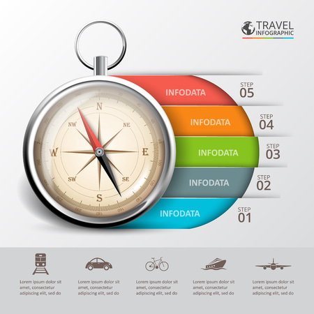 Ilustración de Vector travel infographic with a compass. Template for cycle diagram, graph, presentation and round chart. Business concept with 5 options, parts, steps or processes. Abstract background. - Imagen libre de derechos