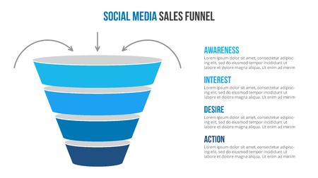 Ilustración de Vector social media sales funnel infographic. Presentation template. - Imagen libre de derechos