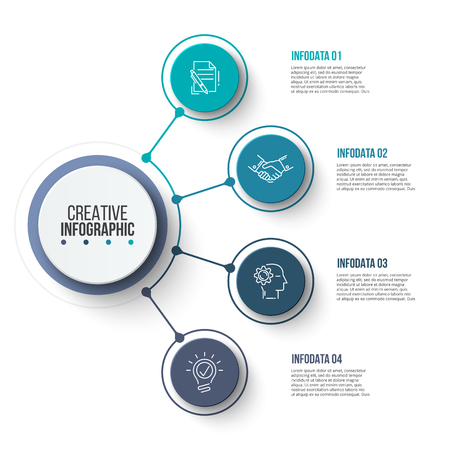 Ilustración de Circle business graphic elements. Business process infographics with 4 steps, parts or options. Abstract presentation template. Modern vector infochart layout design. - Imagen libre de derechos