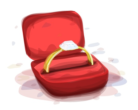 Illustration for diamond ring in the red box, watercolor style - Royalty Free Image
