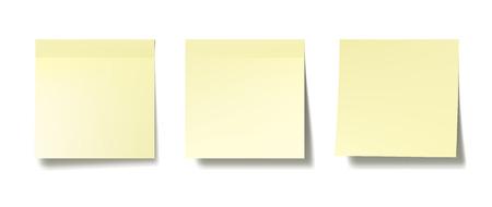 Ilustración de Three realistic post it notes on white wall. EPS10 vector. - Imagen libre de derechos