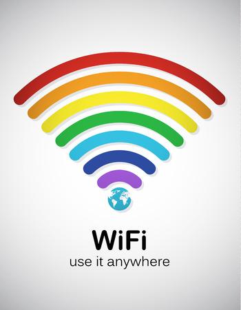 Ilustración de Rainbow style wifi sign. EPS10 vector image. - Imagen libre de derechos