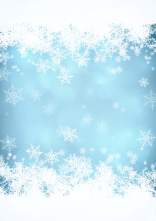 Illustration for Blue Christmas snow background with snow stripes in the top and bottom.  - Royalty Free Image