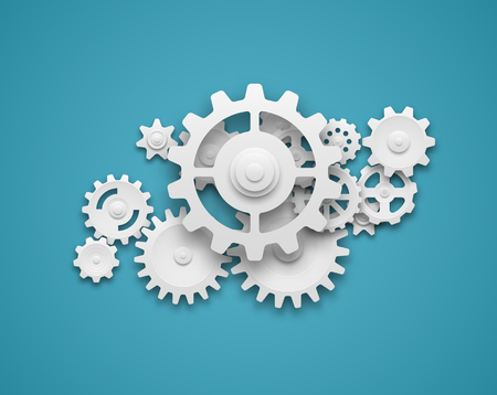Illustration pour Composition of white gears symbolizing cooperation and teamwork. EPS10 vector. - image libre de droit