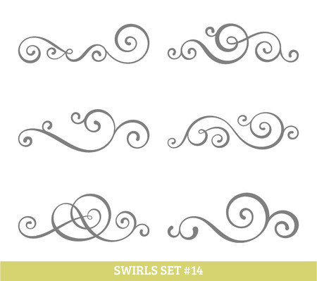 Illustration pour Set of six vector flourish swirls. Simple black contours on white. - image libre de droit