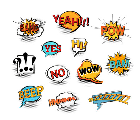 Illustration pour Set of bright cool and dynamic comic speech bubbles for different emotions and sound effects. EPS10 vector image. - image libre de droit