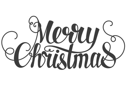 Illustration for Merry Christmas hand lettering isolated on white.  - Royalty Free Image