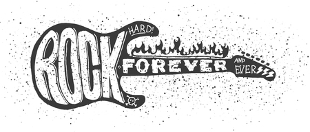 Illustration pour Cool grunge hand drawn electric guitar with distorted text in it. - image libre de droit
