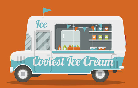 Illustration pour Nice cartoon style illustration of a ice cream van side view. It is Decorated with flags and painted blue and white. Packs of ice cream and a fridge inside. EPS10 vector image. - image libre de droit