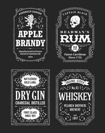 Illustration pour Alcohol Labels Set with rum, whiskey and gin - image libre de droit