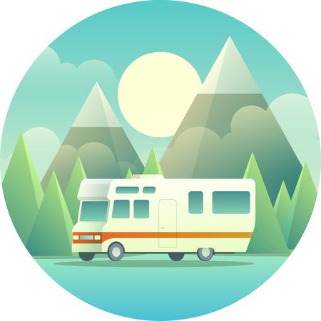 Illustration pour Mobile Home Illustration isolated on blue background. - image libre de droit