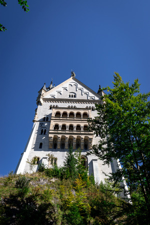 Foto de Neuschwanstein castle in Germany. Castle and mountains with trees around - Imagen libre de derechos