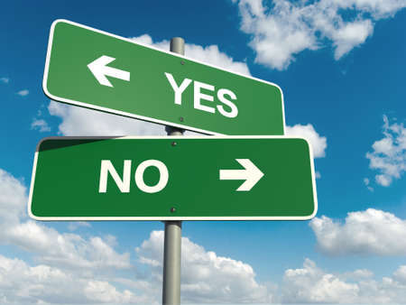 Photo pour A road sign with yes no words on sky background - image libre de droit