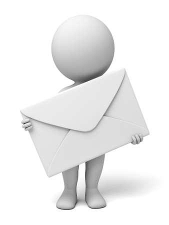 Foto de A 3d people with a mail.  Isolated white background - Imagen libre de derechos