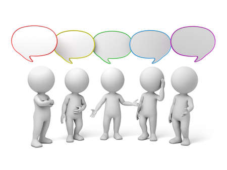 Foto de 3d people talking with speech bubbles. 3d image. Isolated white background. - Imagen libre de derechos