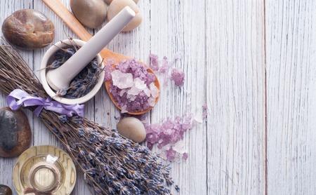 Foto de Soap and Lavender flowers. Spa elements. - Imagen libre de derechos