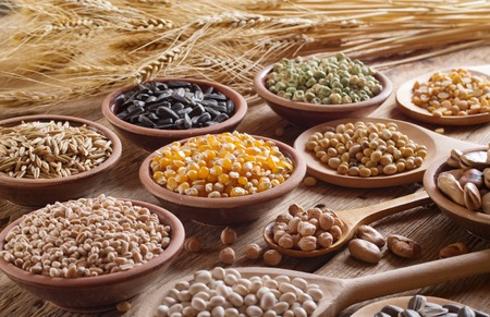 Foto de Cereal grains , seeds, beans on wooden background. - Imagen libre de derechos